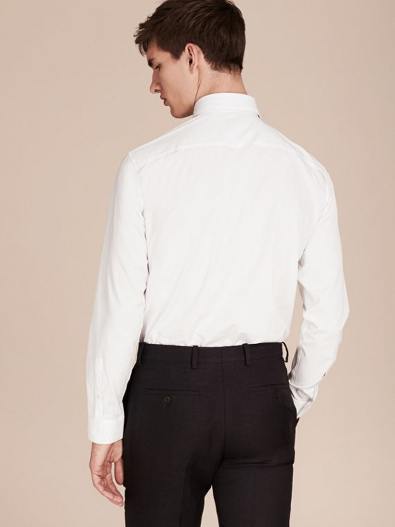 Modern Fit Cotton Poplin Shirt in White - Men | Burberry Canada - cell image 2