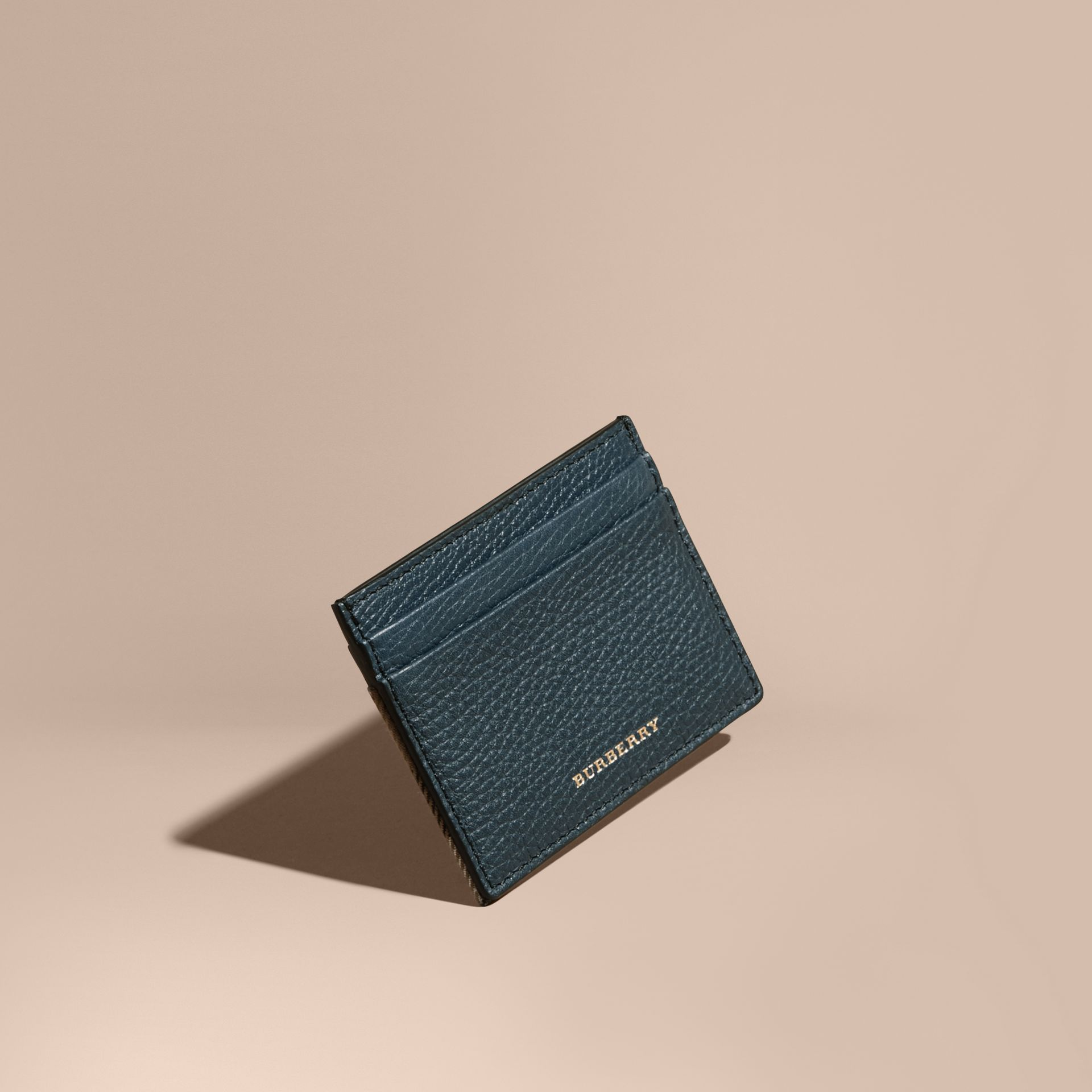 House Check and Grainy Leather Card Case in Storm Blue | Burberry Australia - gallery image 1