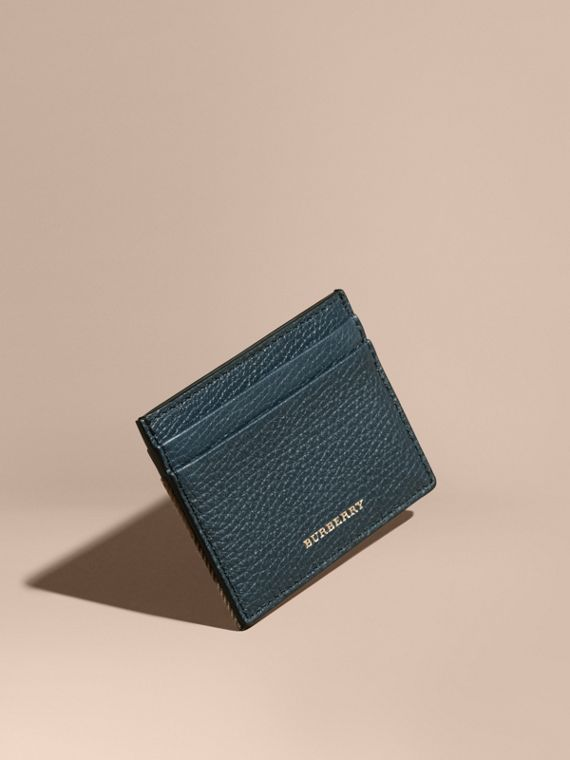 House Check and Grainy Leather Card Case in Storm Blue | Burberry