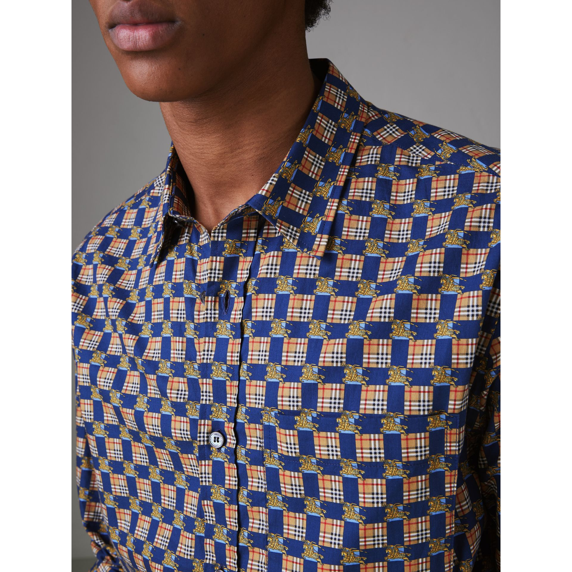 Tiled Archive Print Cotton Shirt in Navy - Men | Burberry - gallery image 1