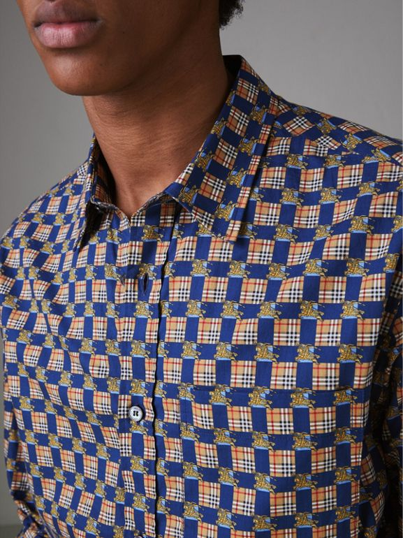 Tiled Archive Print Cotton Shirt in Navy - Men | Burberry - cell image 1