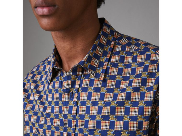 Tiled Archive Print Cotton Shirt in Navy - Men | Burberry United States - cell image 1