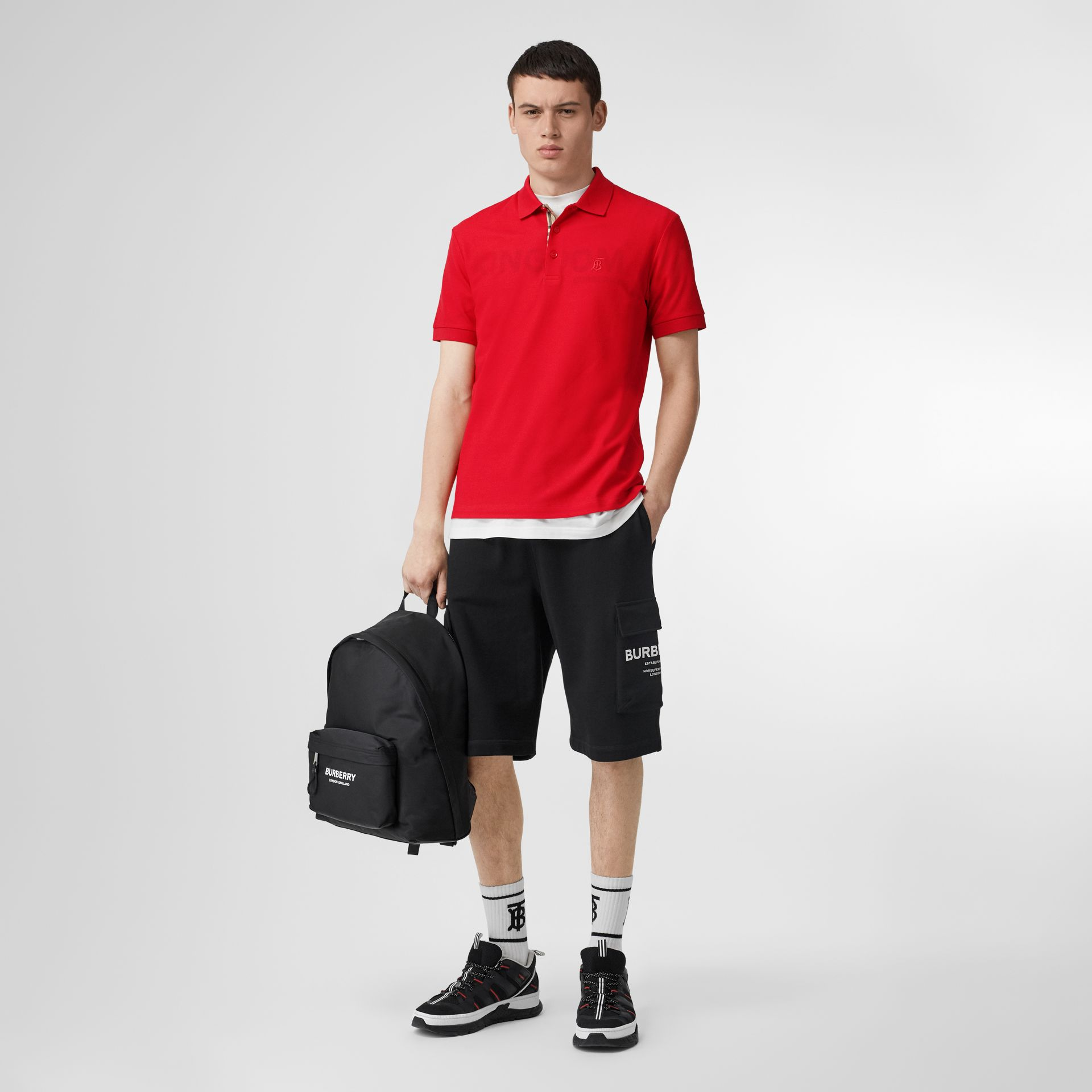 Monogram Motif Cotton Piqué Polo Shirt in Bright Red - Men | Burberry Canada - gallery image 0