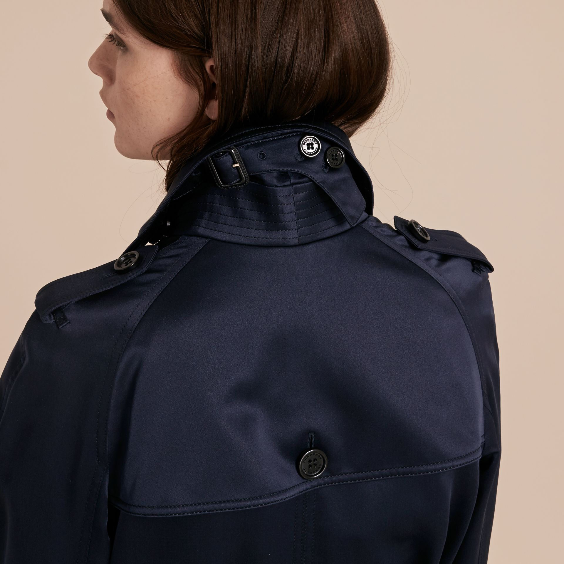 Navy Silk Trench Coat - gallery image 7