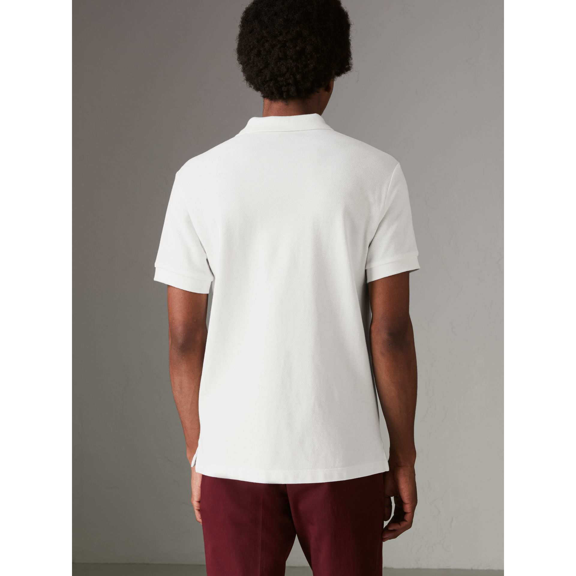 Check Placket Cotton Polo Shirt in White - Men | Burberry United States - gallery image 2