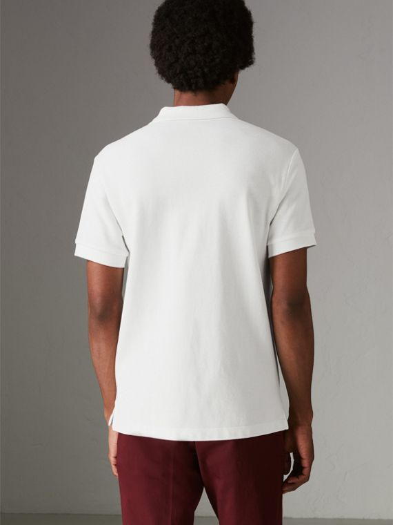 Check Placket Cotton Polo Shirt in White - Men | Burberry - cell image 2