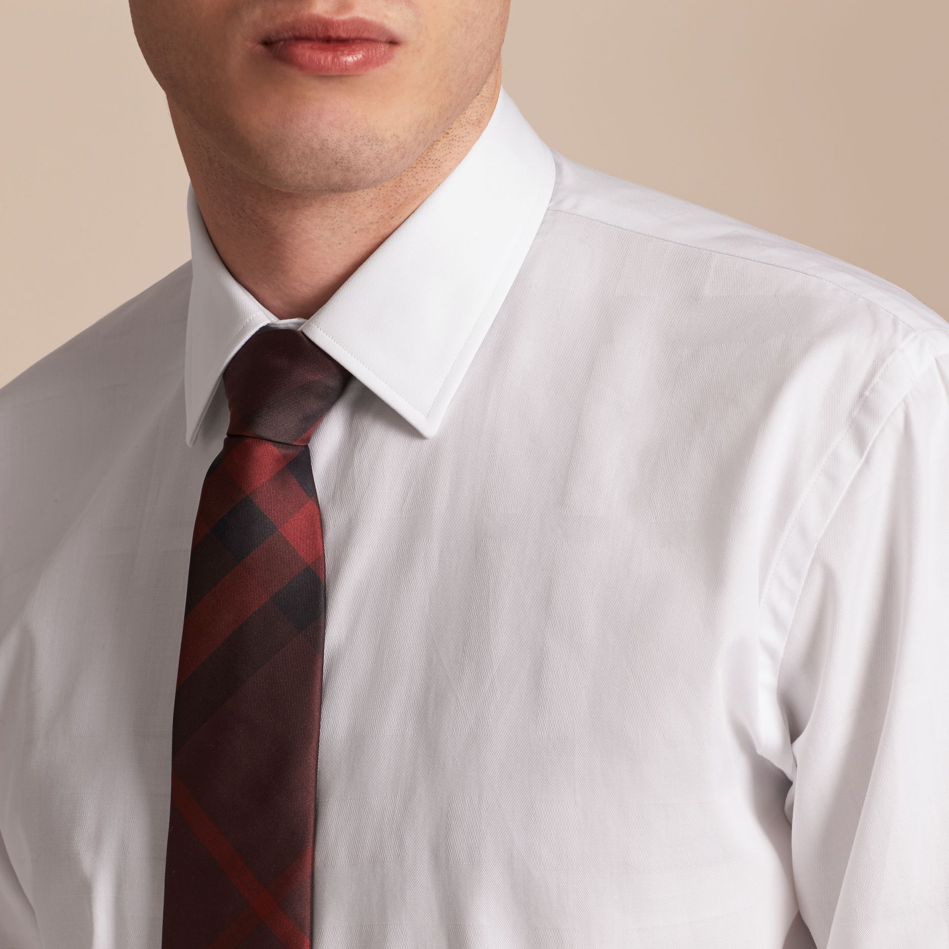 Modern Fit Check Cotton Poplin Shirt in White - gallery image 5