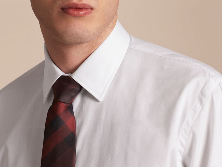 Modern Fit Check Cotton Poplin Shirt in White - cell image 4
