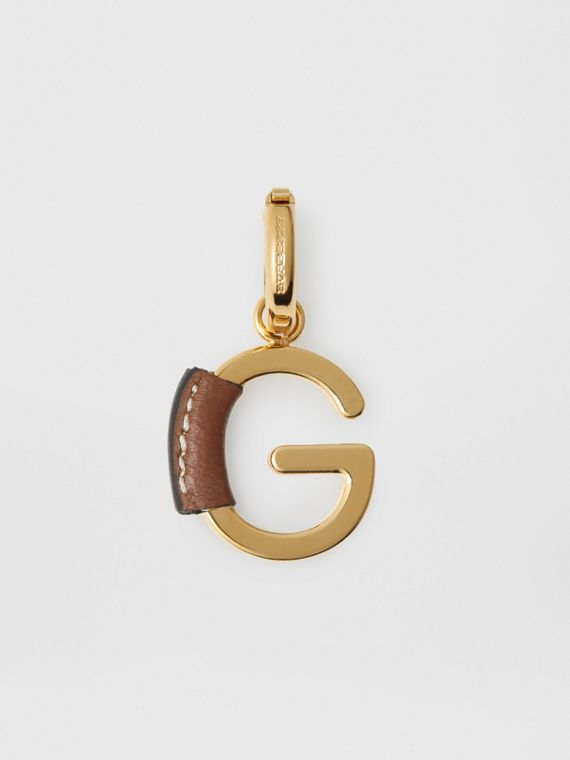 Leather-wrapped 'G' Alphabet Charm in Light Gold/tan