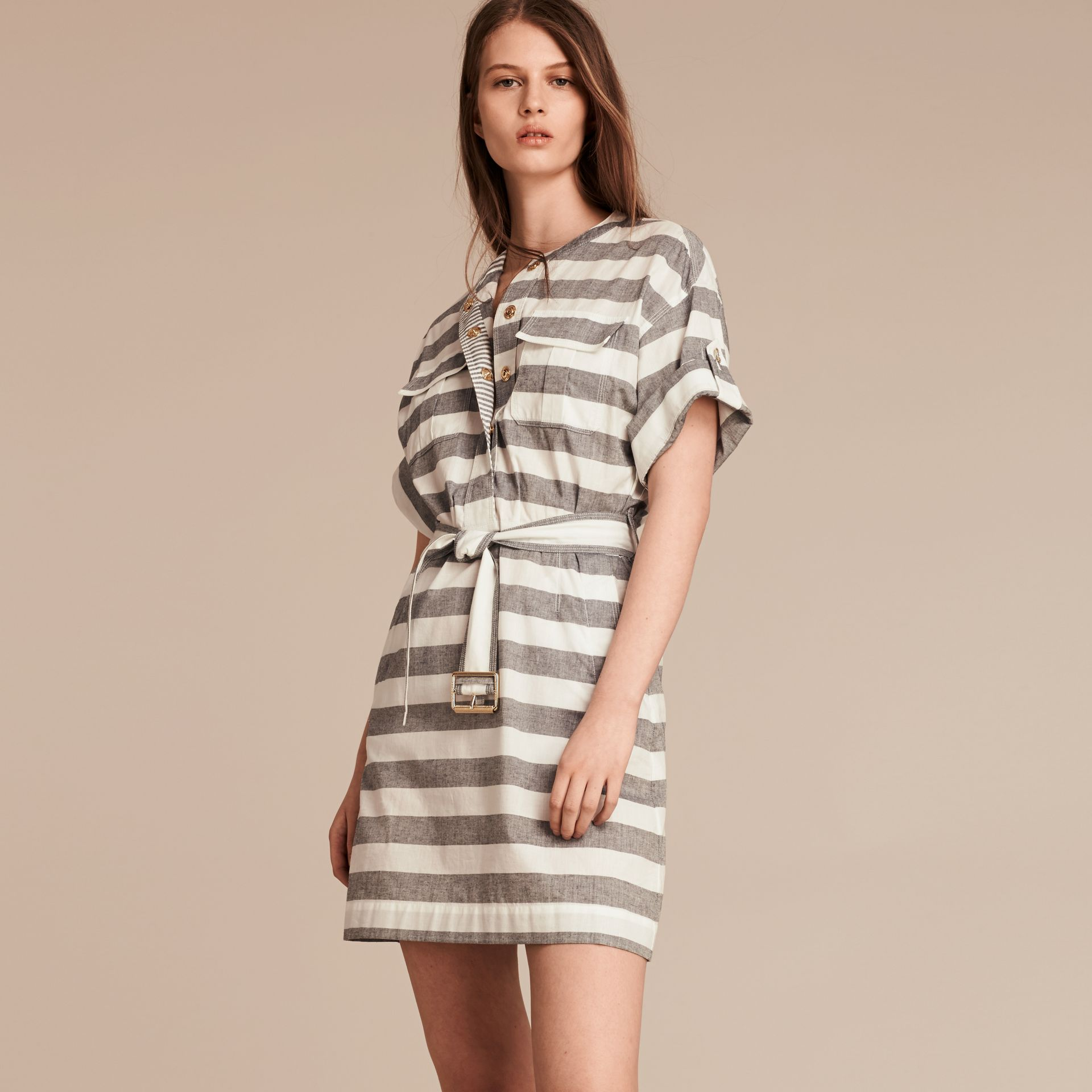 White Striped Belted Cotton Dress - gallery image 1
