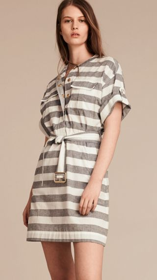 Striped Belted Cotton Dress