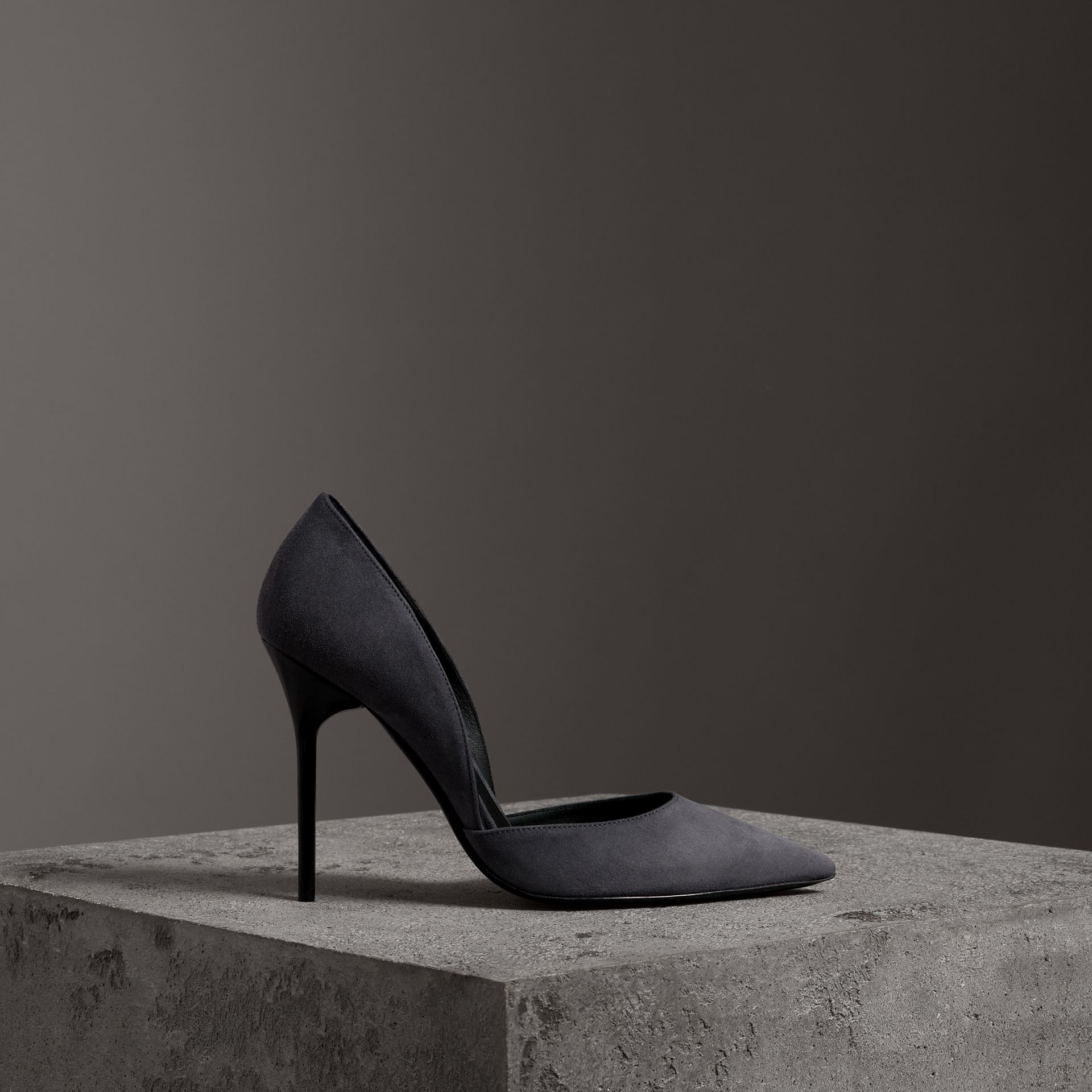 Cutaway Suede Pumps in Grey Navy - Women | Burberry - gallery image 0