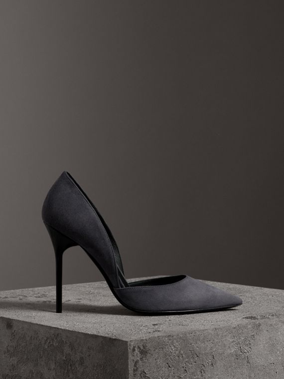 Cutaway Suede Pumps in Grey Navy