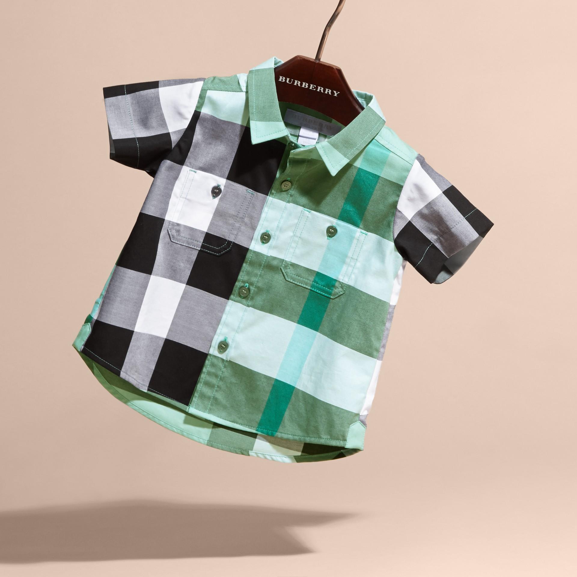Short-sleeved Check Cotton Shirt Eucalyptus - gallery image 3
