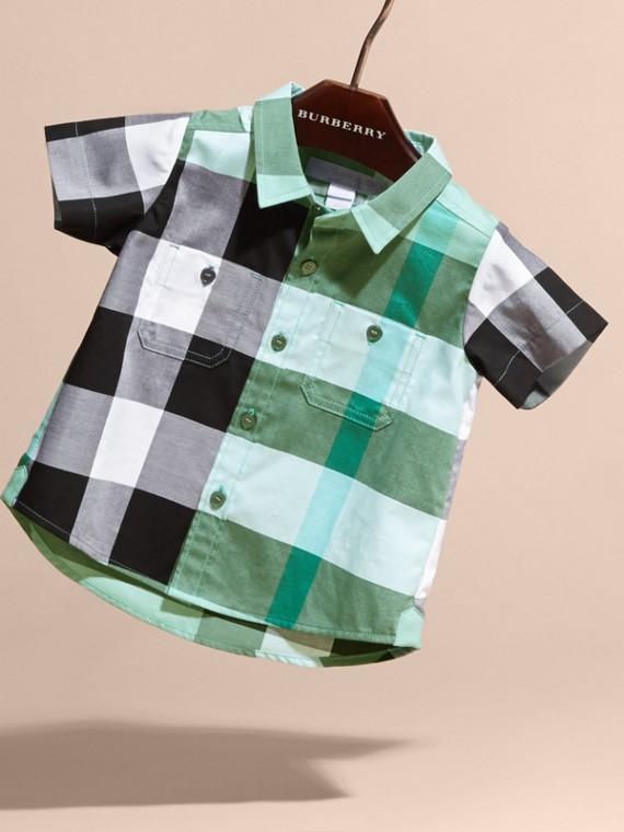 Short-sleeved Check Cotton Shirt Eucalyptus - cell image 2