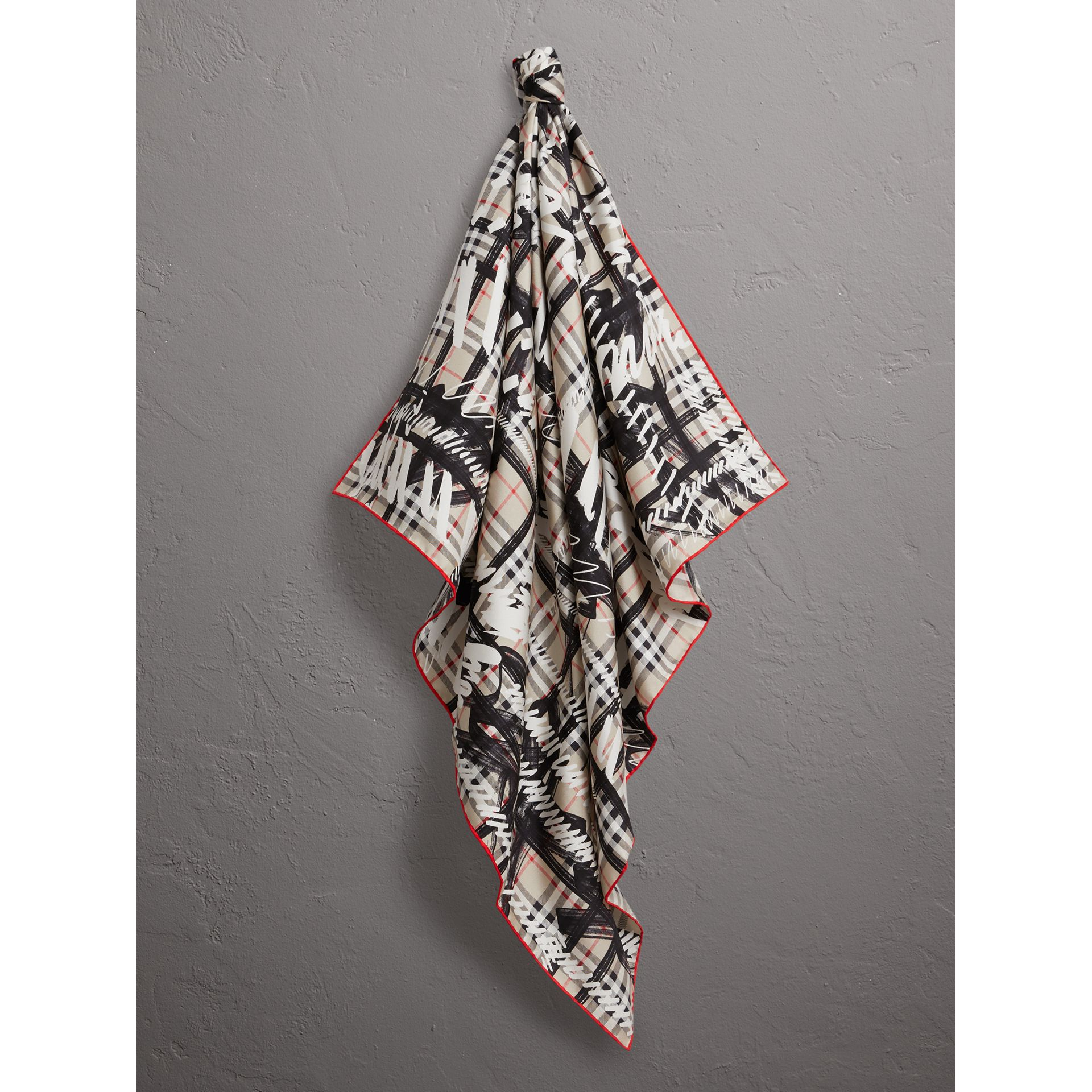 Scribble Check Silk Square Scarf in Stone - Women | Burberry - gallery image 4