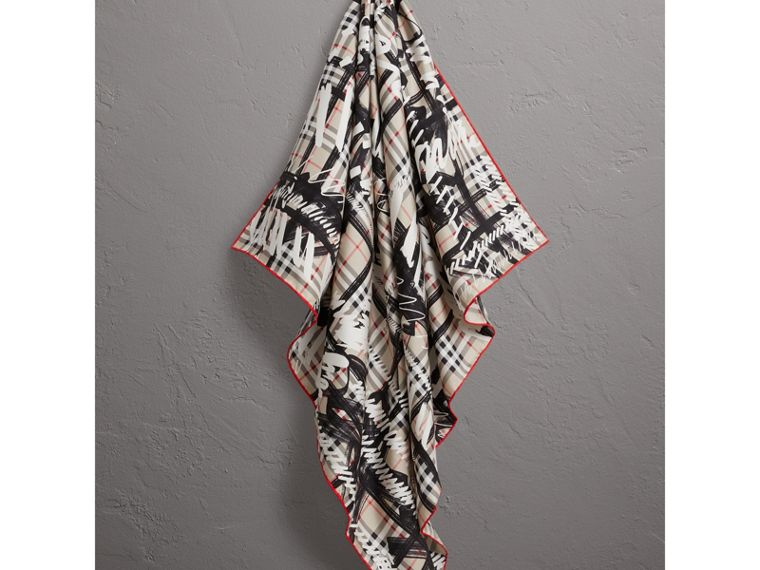 Scribble Check Silk Square Scarf in Stone - Women | Burberry - cell image 4