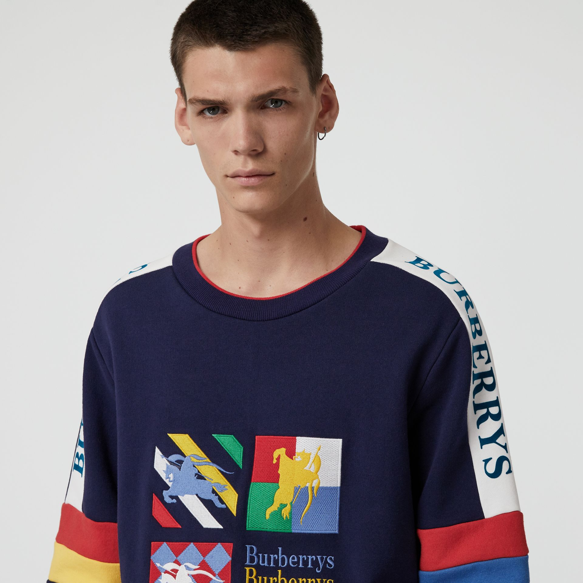 Colour Block Embroidered Archive Logo Sweatshirt in True Navy - Men | Burberry Australia - gallery image 1