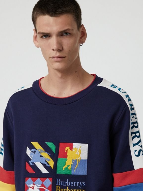 Colour Block Embroidered Archive Logo Sweatshirt in True Navy - Men | Burberry - cell image 1