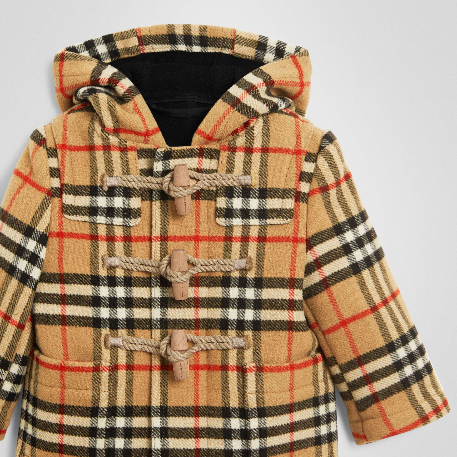 Vintage Check Wool Duffle Coat in Black - Children | Burberry United States - gallery image 4