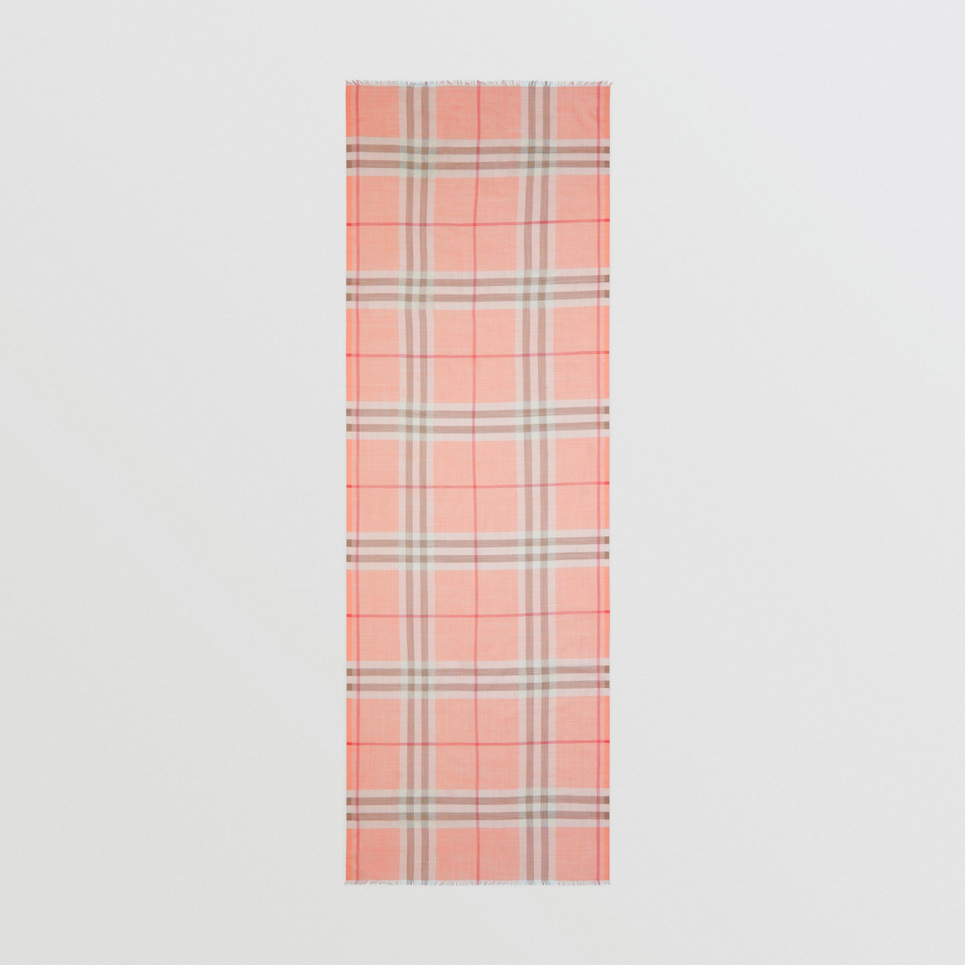 Lightweight Check Wool Silk Scarf in Pink Peach | Burberry United Kingdom - gallery image 3