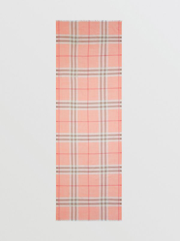 Lightweight Check Wool Silk Scarf in Pink Peach | Burberry United Kingdom - cell image 3