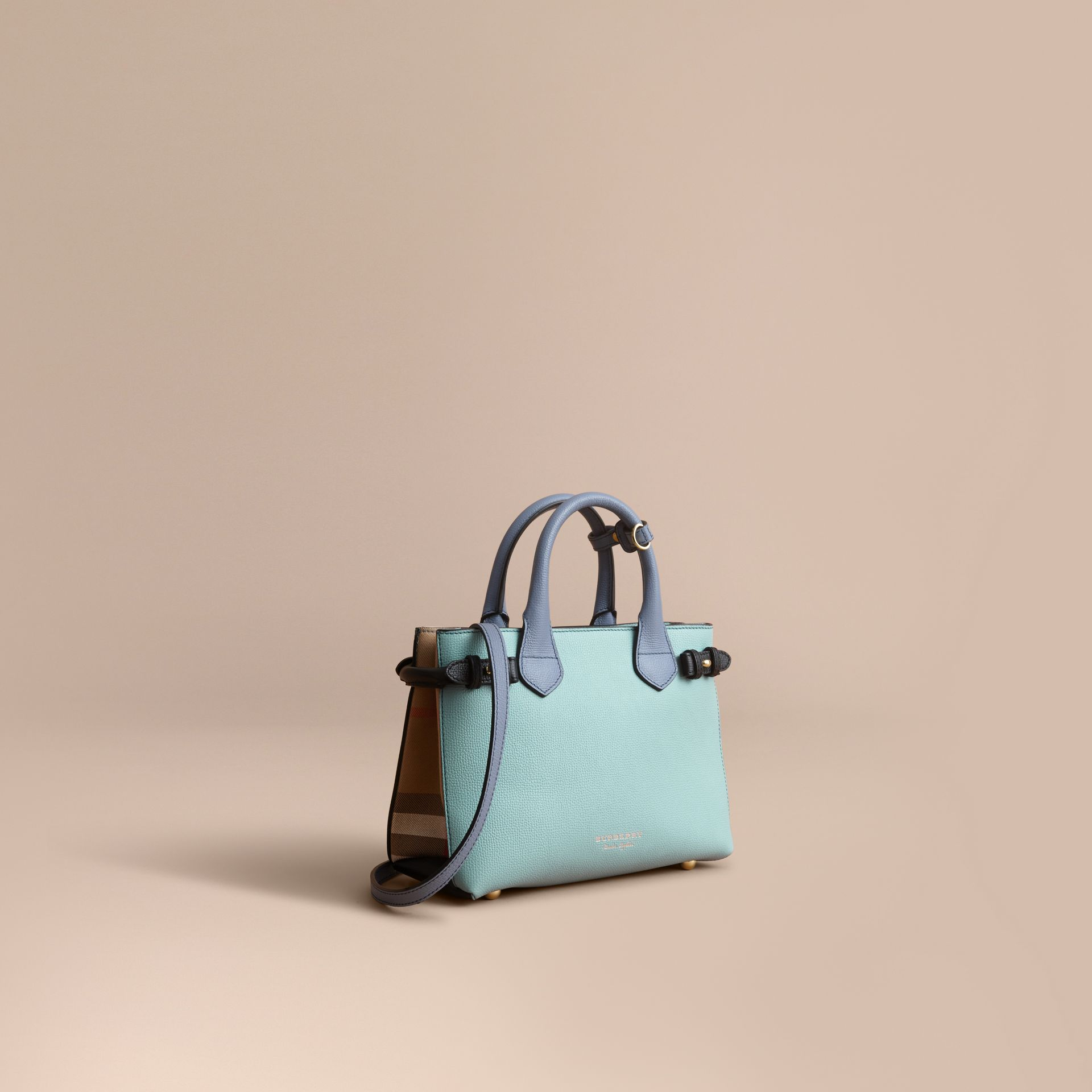 The Small Banner in Tri-tone Leather and House Check in Pale Opal/slate Blue - Women | Burberry - gallery image 1