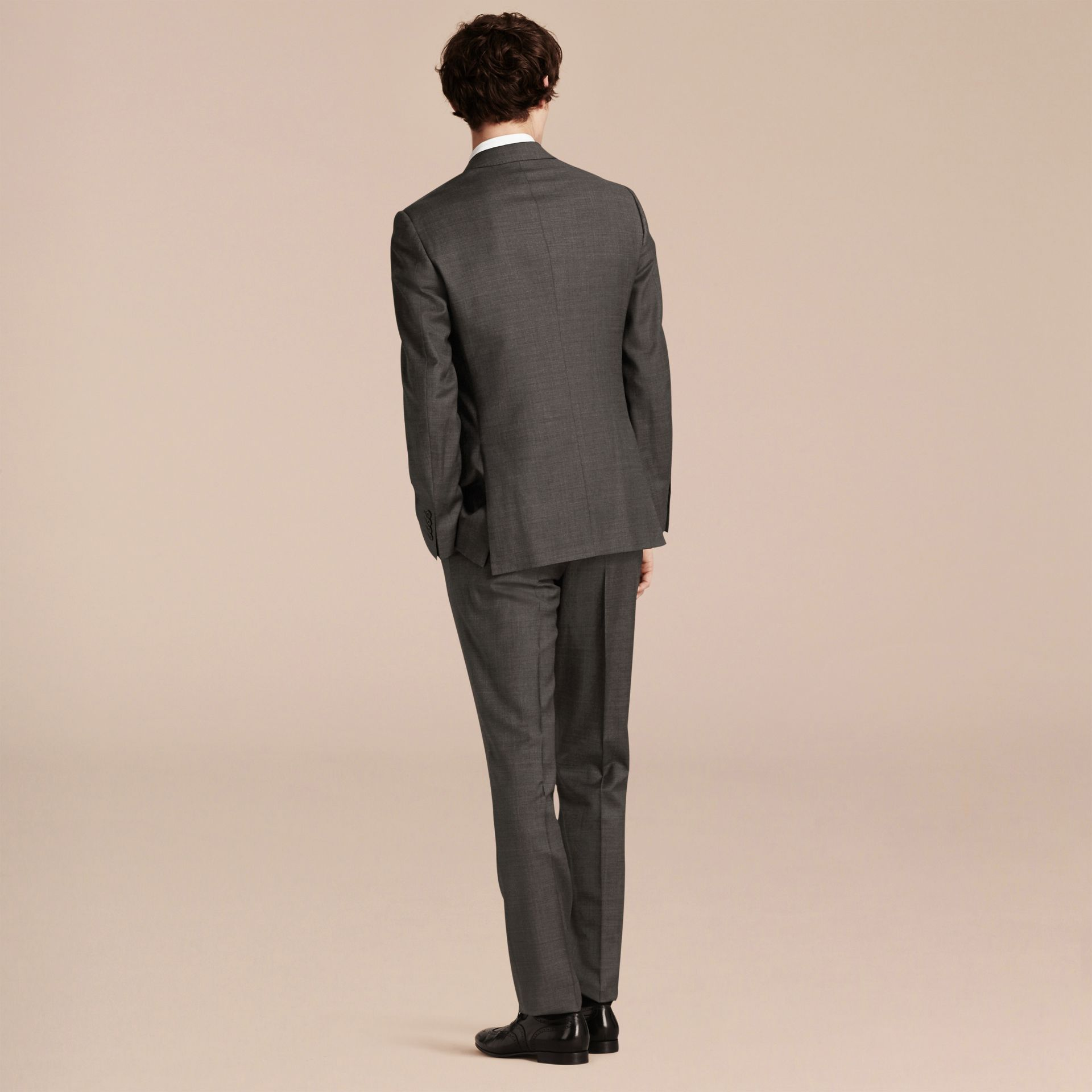 Dark grey melange Modern Fit Travel Tailoring Virgin Wool Suit - gallery image 3