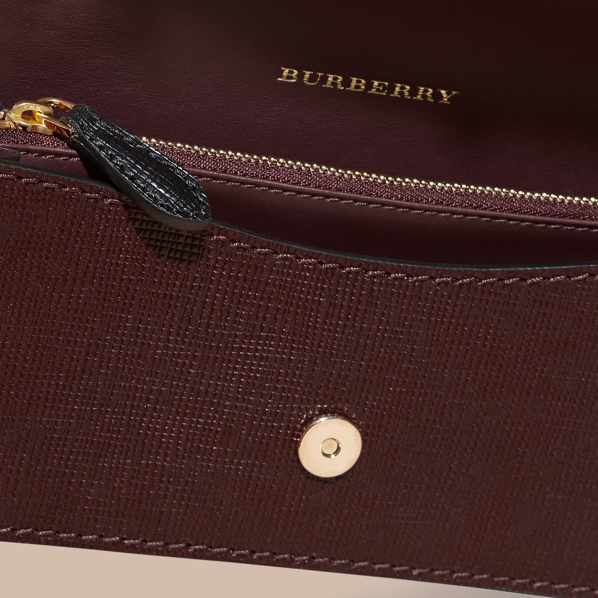 The Small Buckle Bag in Textured Leather in Burgundy/black - gallery image 6