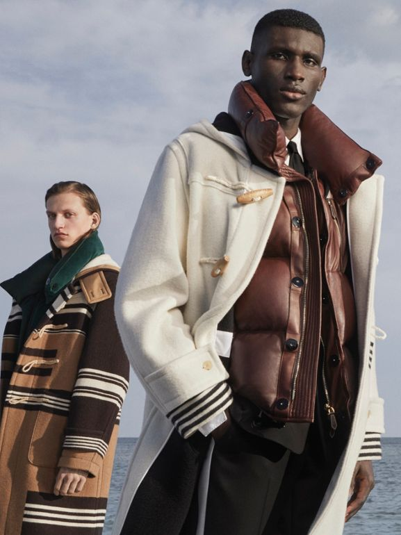 Satin Trim Chenille Puffer Gilet in Pine Green - Men | Burberry Singapore - cell image 1