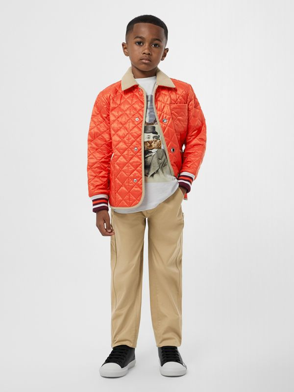 Corduroy Trim Lightweight Diamond Quilted Jacket in Bright Coral Orange | Burberry - cell image 3