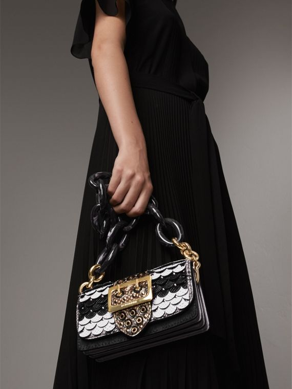 The Small Buckle Bag in Scalloped Snakeskin in Black/white - Women | Burberry - cell image 3