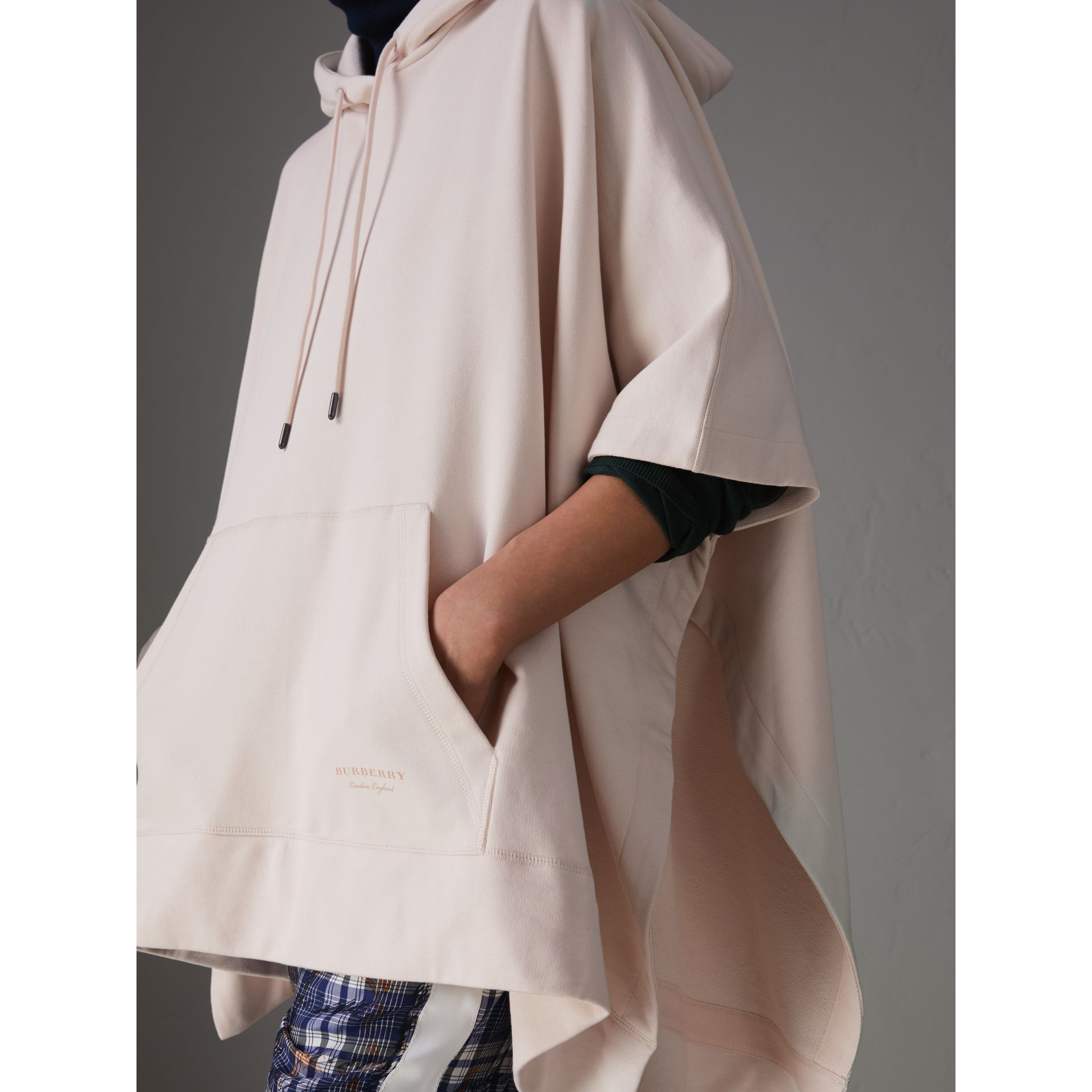 Cotton Jersey Hooded Cape in Pale Pink - Women | Burberry United Kingdom - gallery image 1
