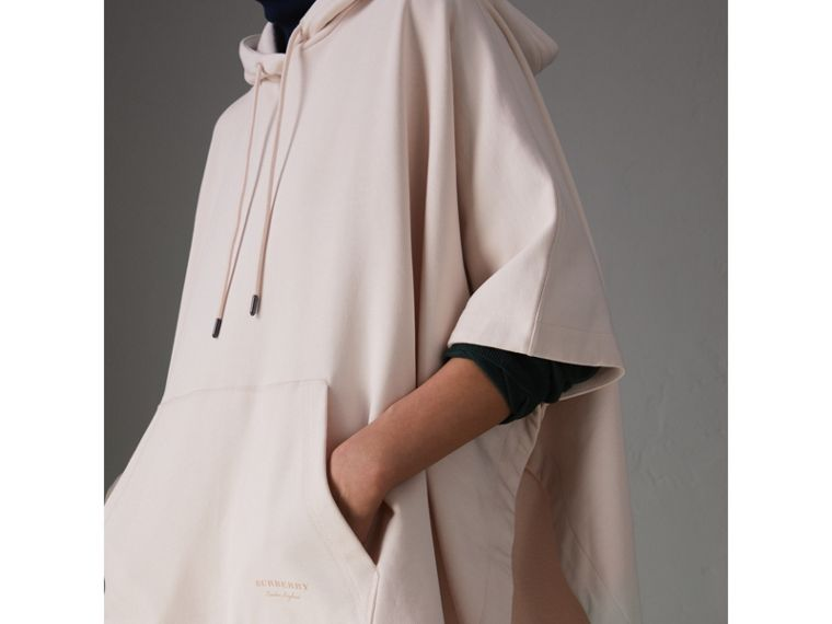 Cotton Jersey Hooded Cape in Pale Pink - Women | Burberry - cell image 1