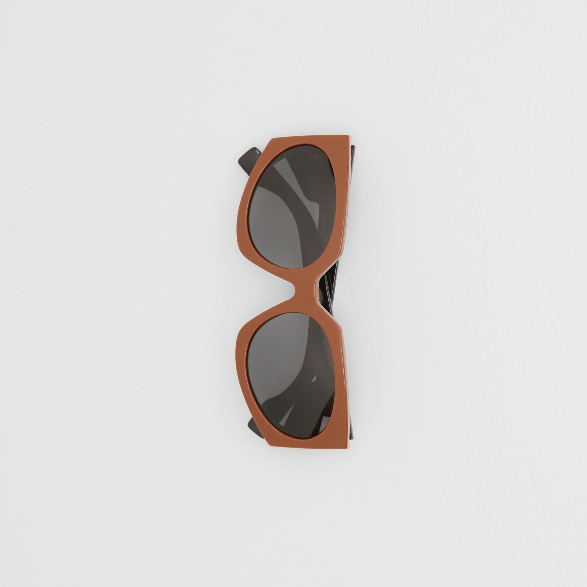 Geometric Frame Sunglasses in Tan - Women | Burberry - gallery image 3