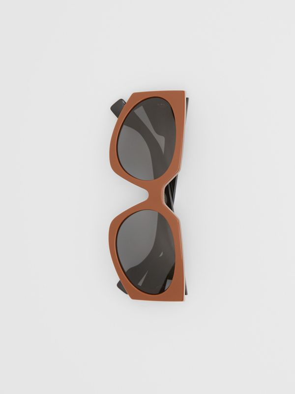 Geometric Frame Sunglasses in Tan - Women | Burberry - cell image 3