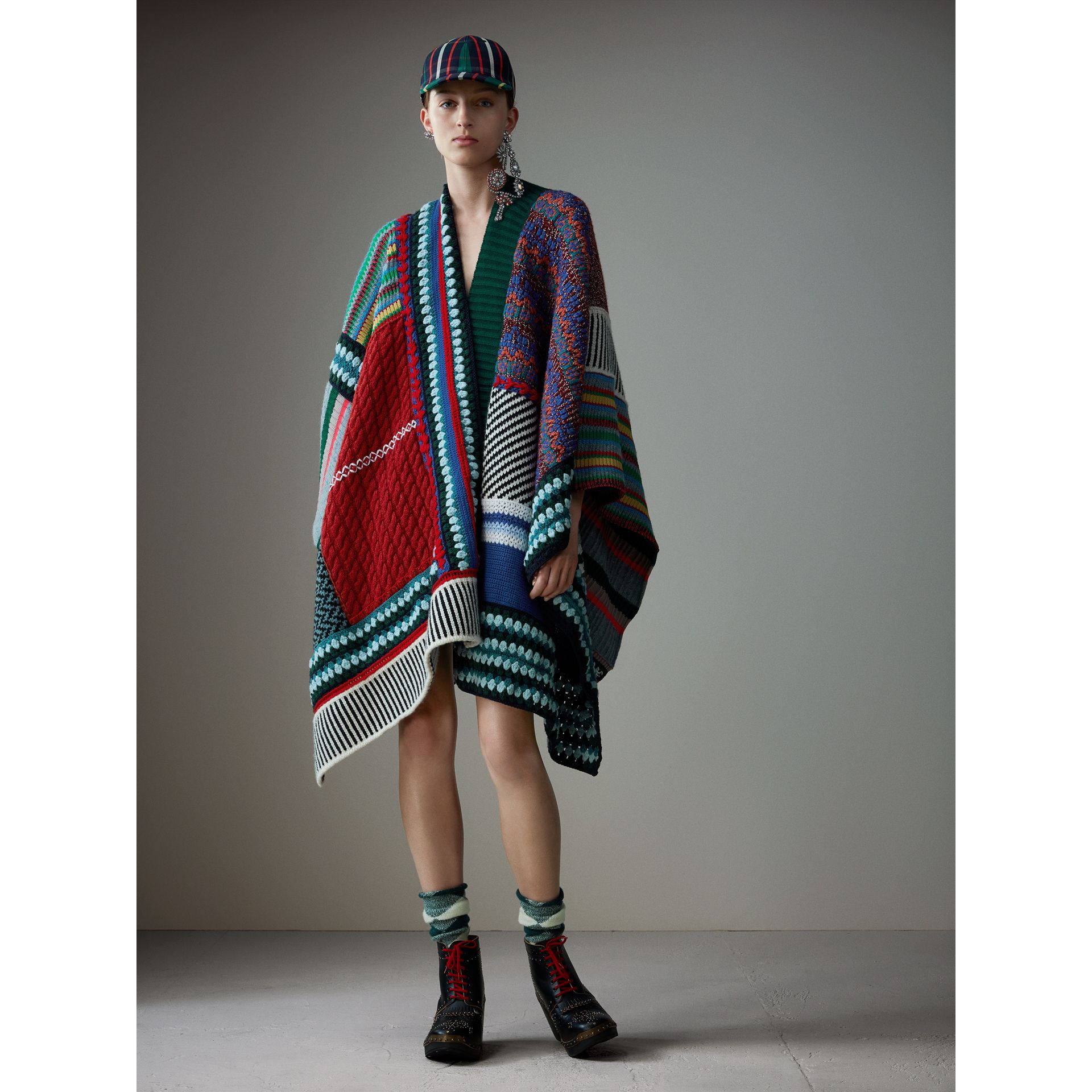 Cashmere Wool Blend Patchwork Poncho in Multicolour | Burberry Australia - gallery image 0