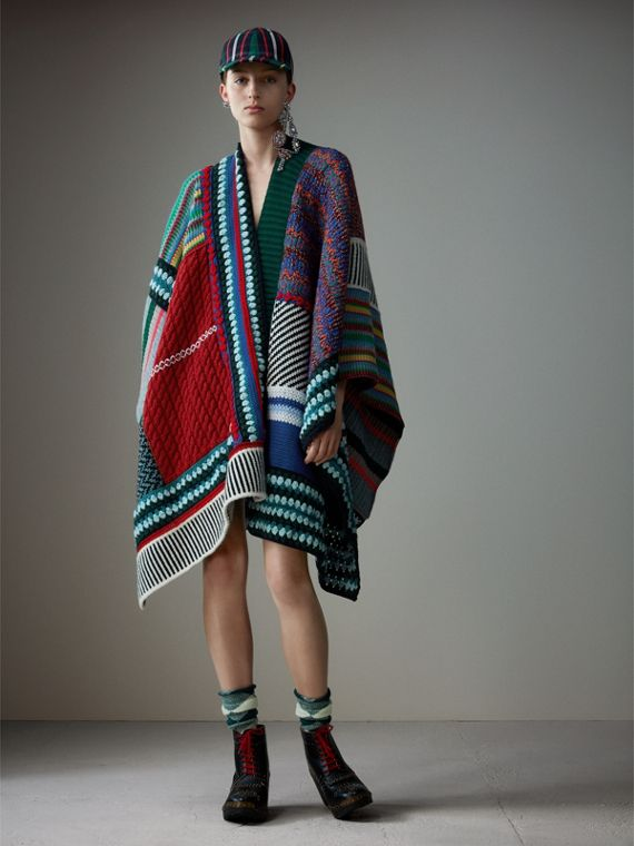 Cashmere Wool Blend Patchwork Poncho in Multicolour