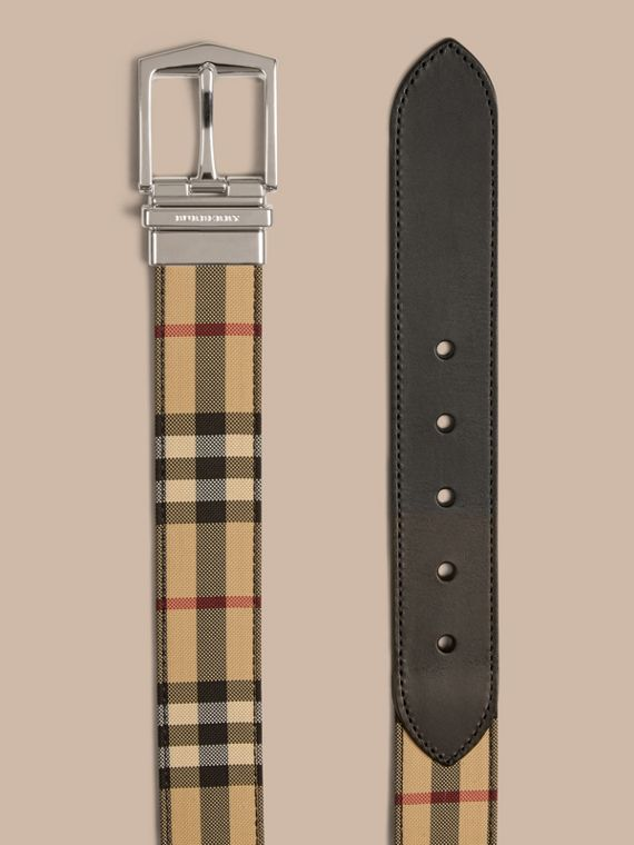 Black Reversible Horseferry Check and Leather Belt Black - cell image 2
