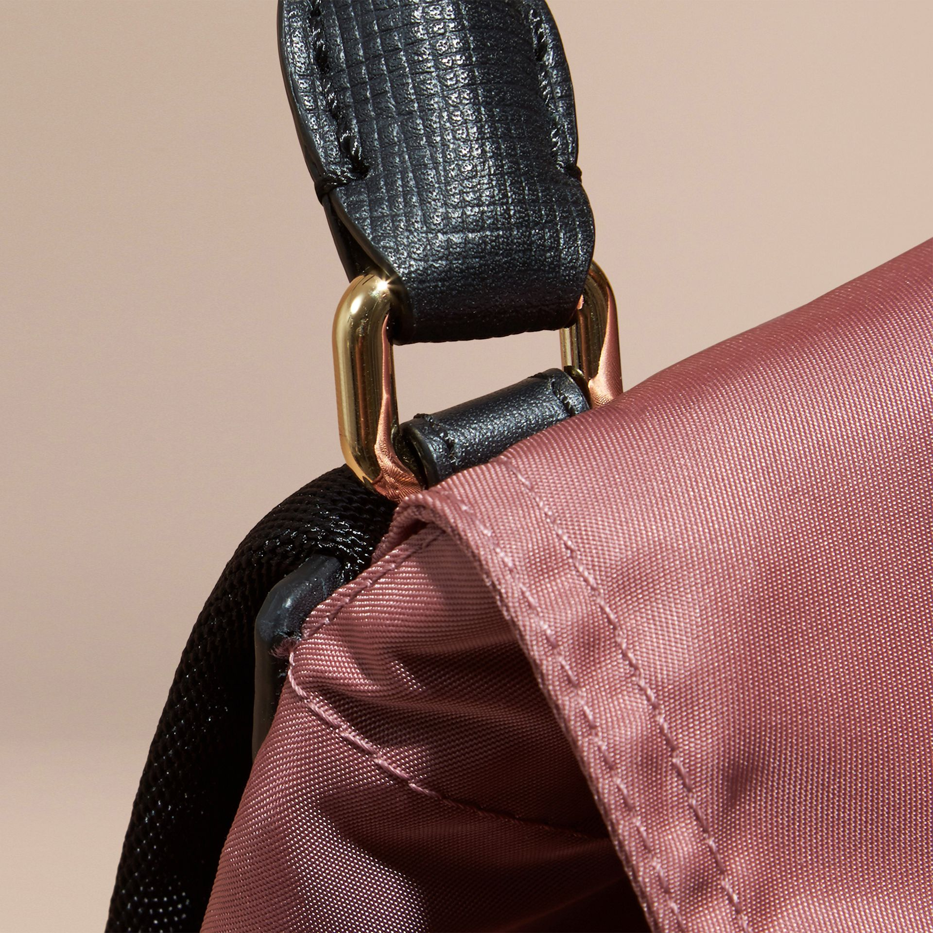The Small Rucksack in Technical Nylon and Leather in Mauve Pink - gallery image 2