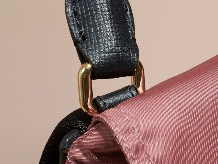 The Small Rucksack in Technical Nylon and Leather in Mauve Pink - cell image 1