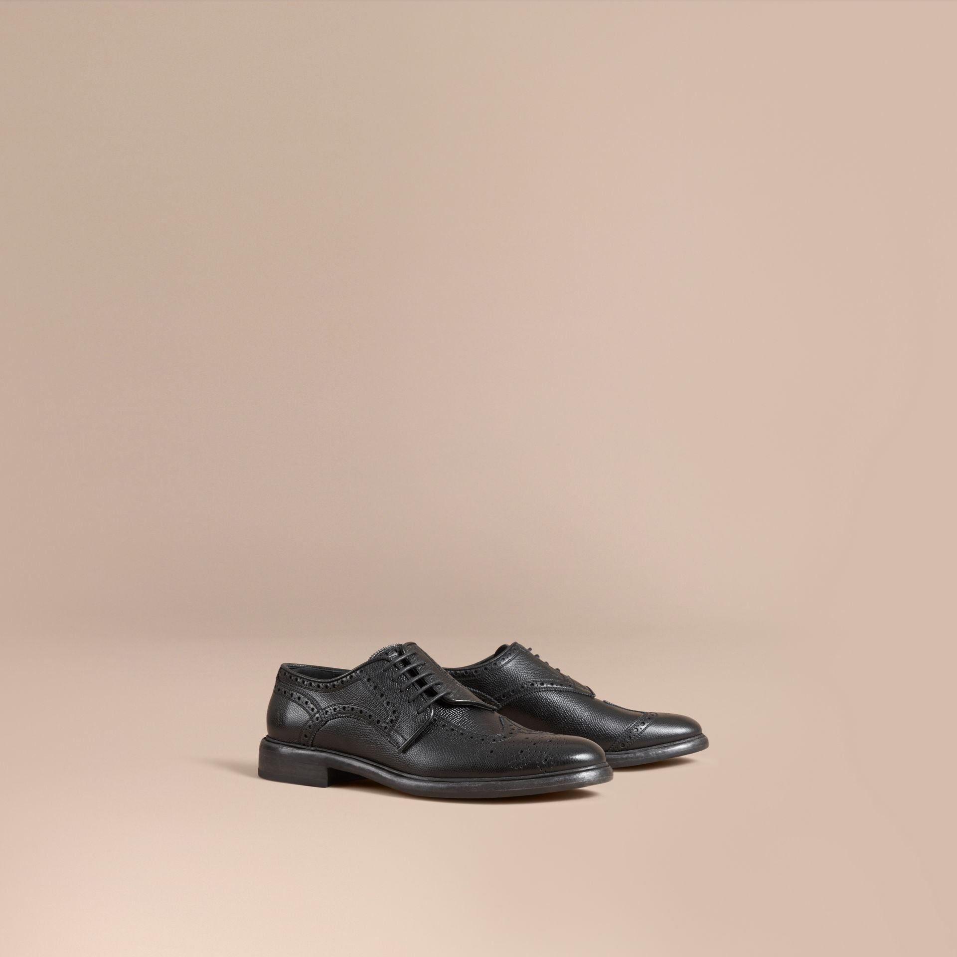 Leather Brogues with Asymmetric Closure in Black - Men | Burberry - gallery image 0