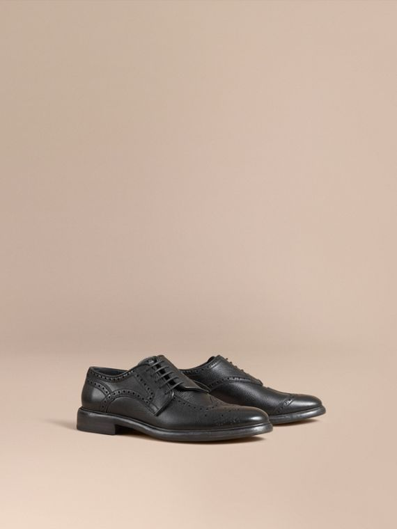 Leather Brogues with Asymmetric Closure in Black