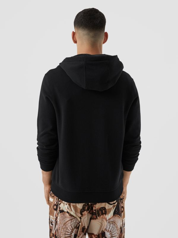 Contrast Logo Graphic Cotton Hooded Top in Black - Men | Burberry - cell image 2