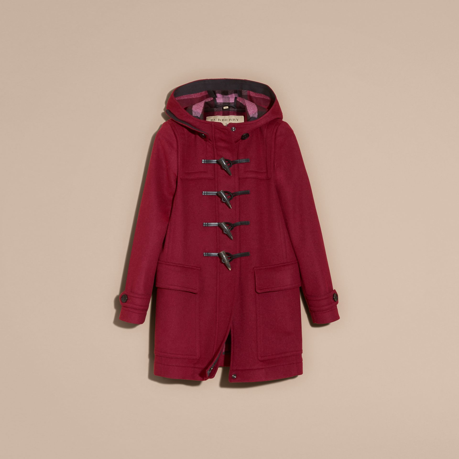 Dark plum Wool Duffle Coat - gallery image 4