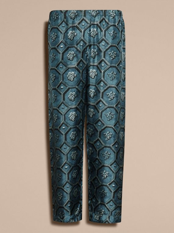 Dark mineral blue Geometric Wallpaper Print Silk Twill Cropped Pyjama-style Trousers Dark Mineral Blue - cell image 3