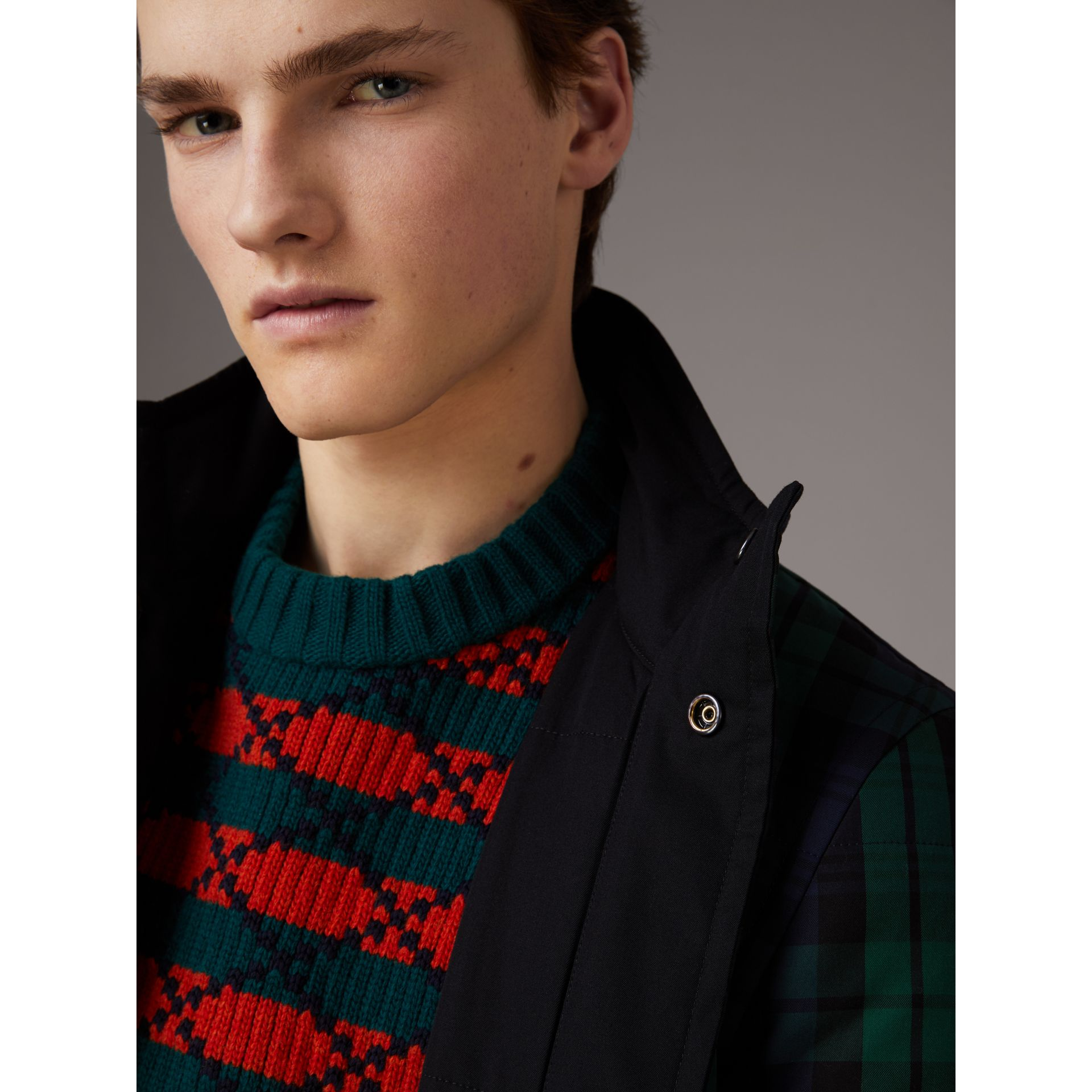 Reversible Quilted Tartan Cotton Jacket in Bright Navy - Men | Burberry Hong Kong - gallery image 1