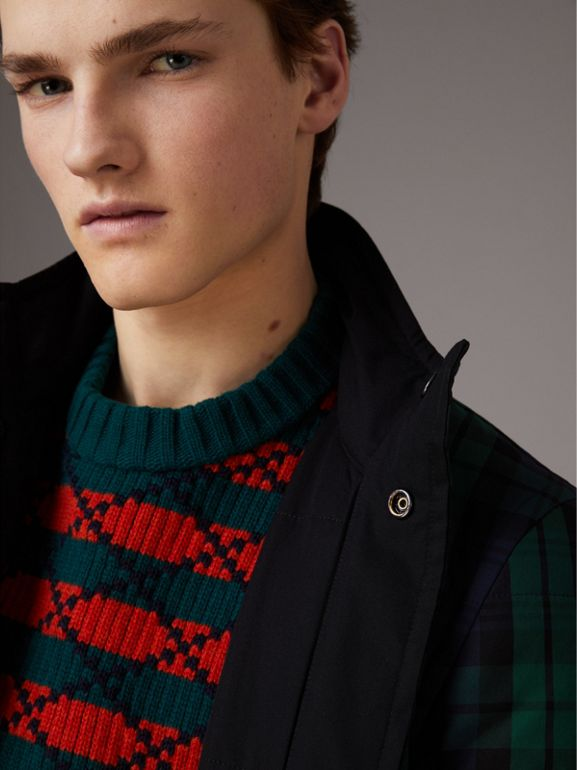 Reversible Quilted Tartan Cotton Jacket in Bright Navy - Men | Burberry United Kingdom - cell image 1