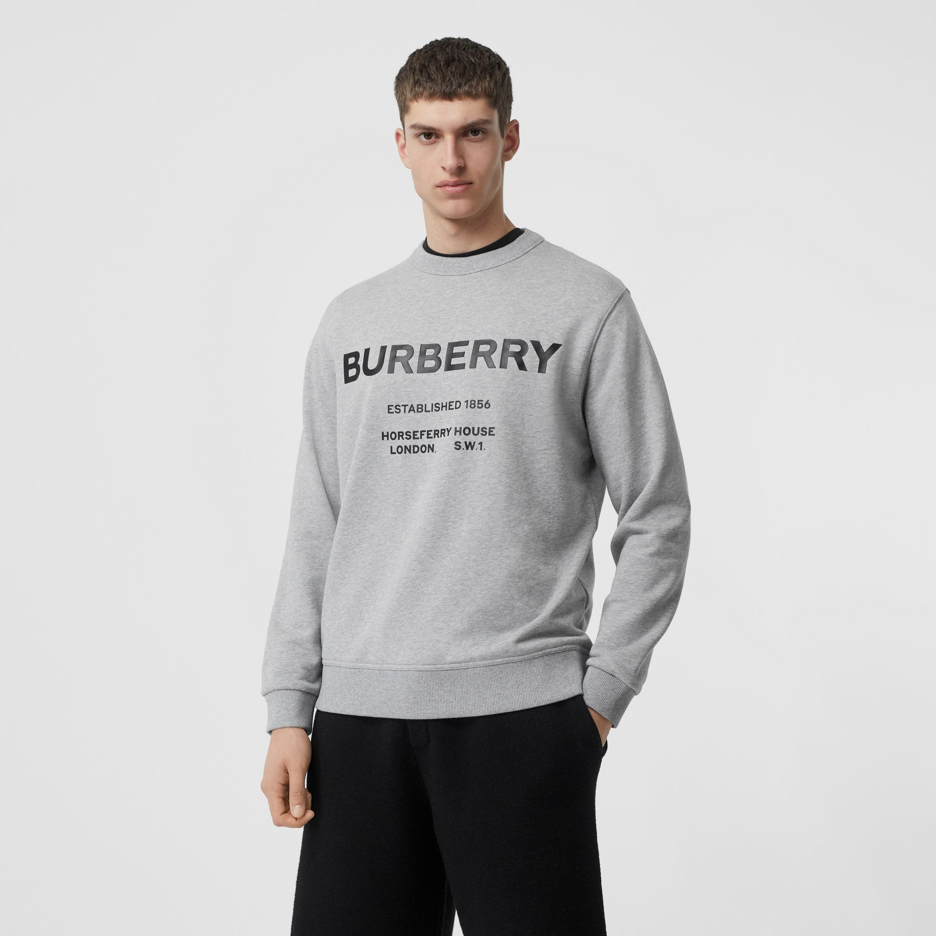 Horseferry Print Cotton Sweatshirt in Pale Grey Melange - Men | Burberry - gallery image 4