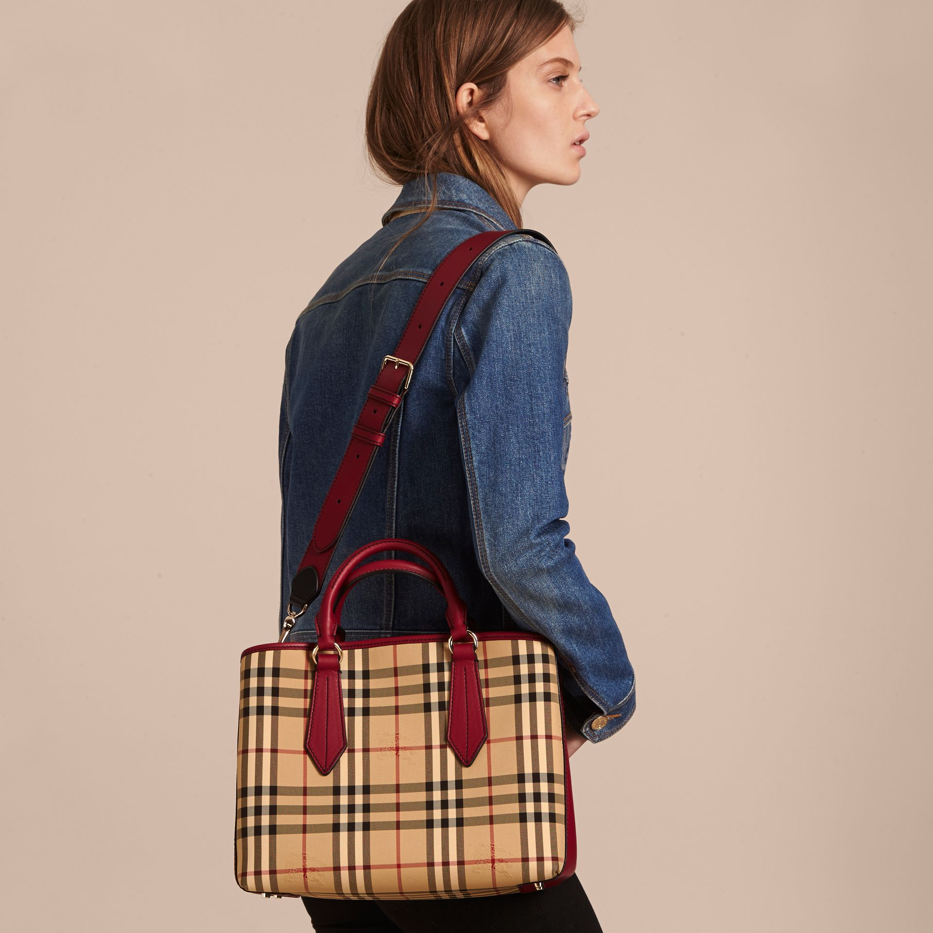 Leather Trim Horseferry Check Tote in Honey/parade Red - gallery image 4